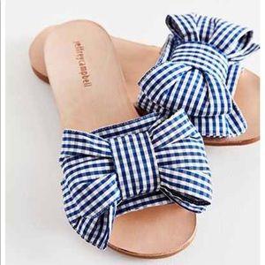 Jeffrey Campbell Now Tie Blue Gingham Sandals